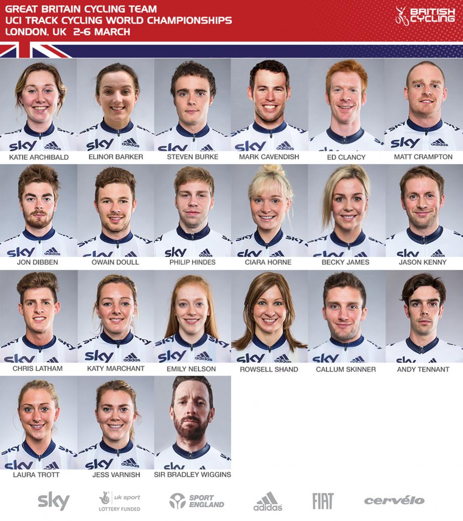 La Nazionale della Gran Bretagna per i Mondiali su pista di Londra