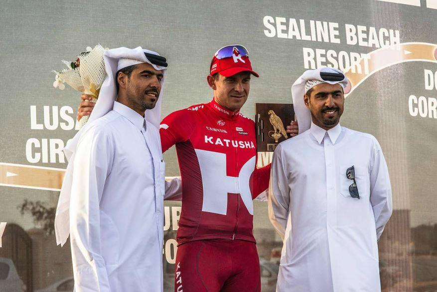 Alexander Kristoff (Katusha) sul podio della quarta tappa del Tour of Qatar