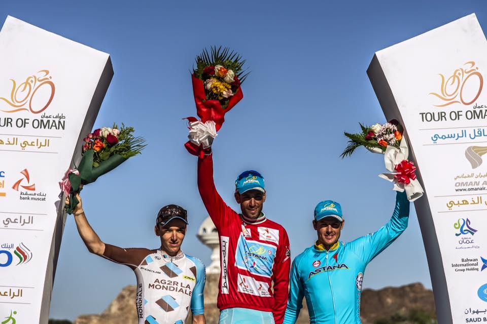 Il podio finale del Tour of Oman 2016 vinto da Vincenzo Nibali
