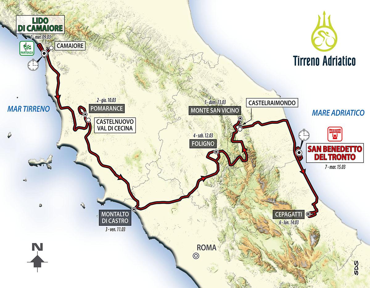 La mappa delle tappe della Tirreno-Adriatico 2016
