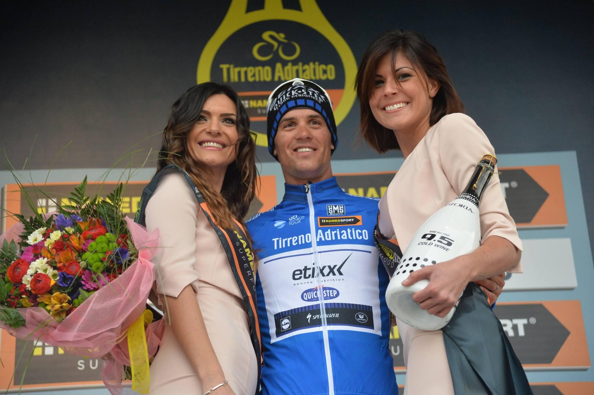 Zdenek Stybar sul podio della 2^ tappa della Tirreno-Adriatico