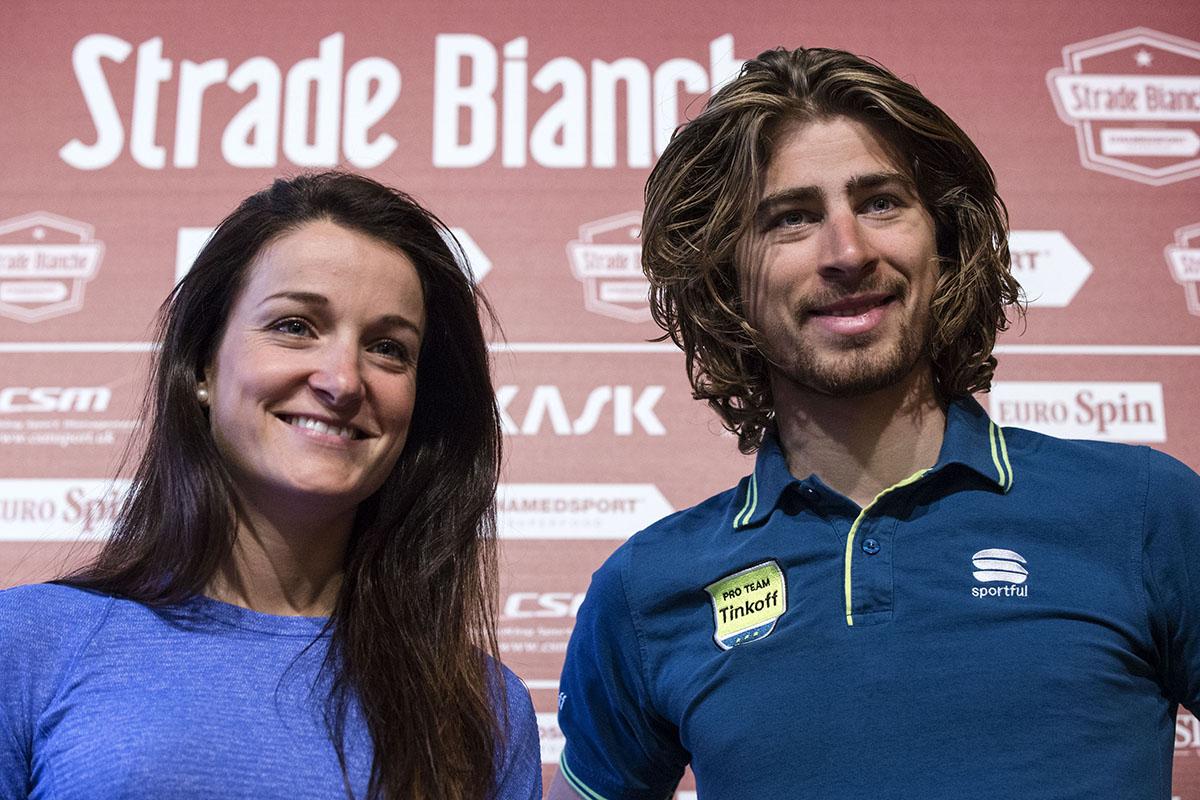 I campioni del mondo Peter Sagan ed Elizabeth Armitstead (foto ANSA/Angelo Carconi)