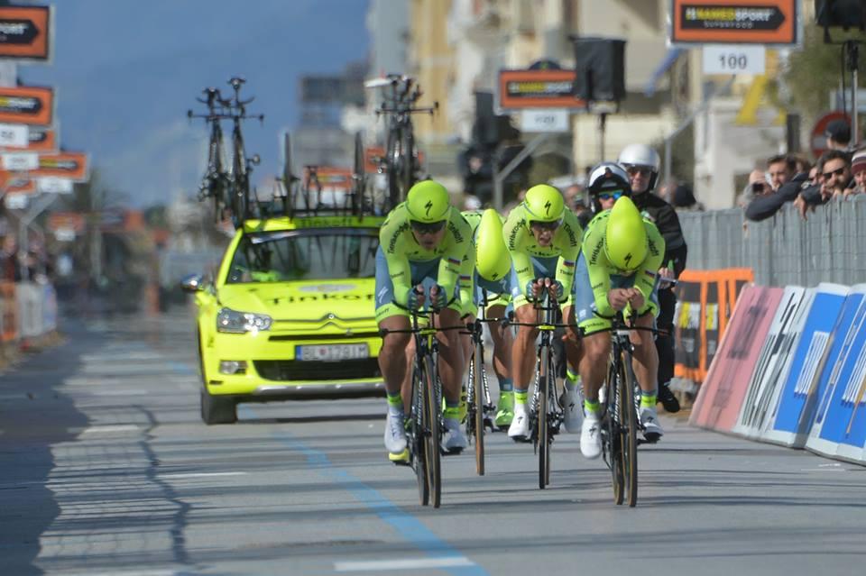 La Tinkoff, seconda classificata nella cronosquadre della Tirreno-Adriatico
