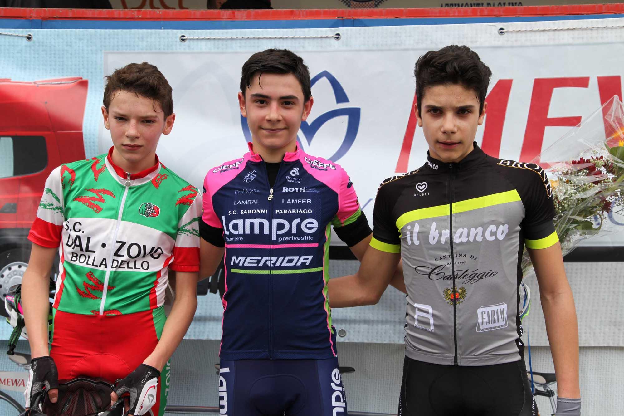 Il podio Esordienti 2° anno a Turbigo