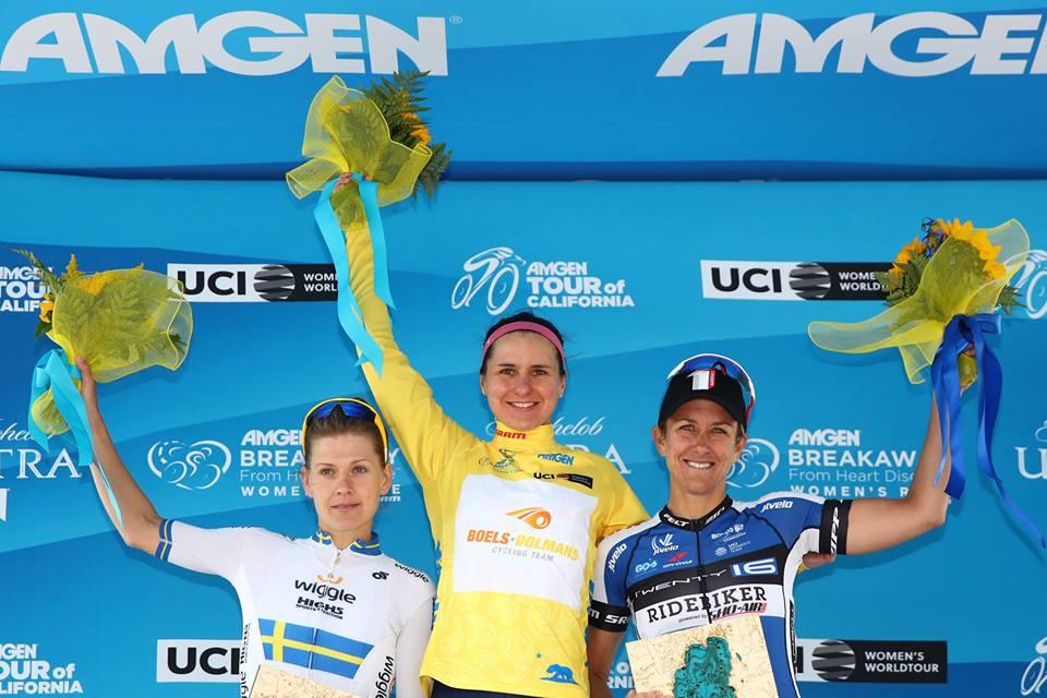 Il podio della prima tappa del Women's Tour of California 2016