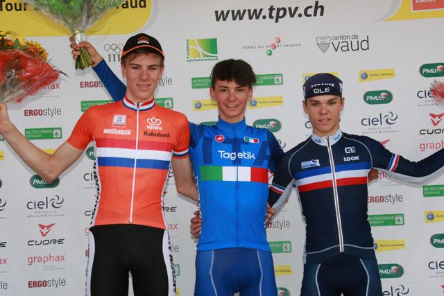 Il podio della prima tappa del Tour du Pays de Vaud