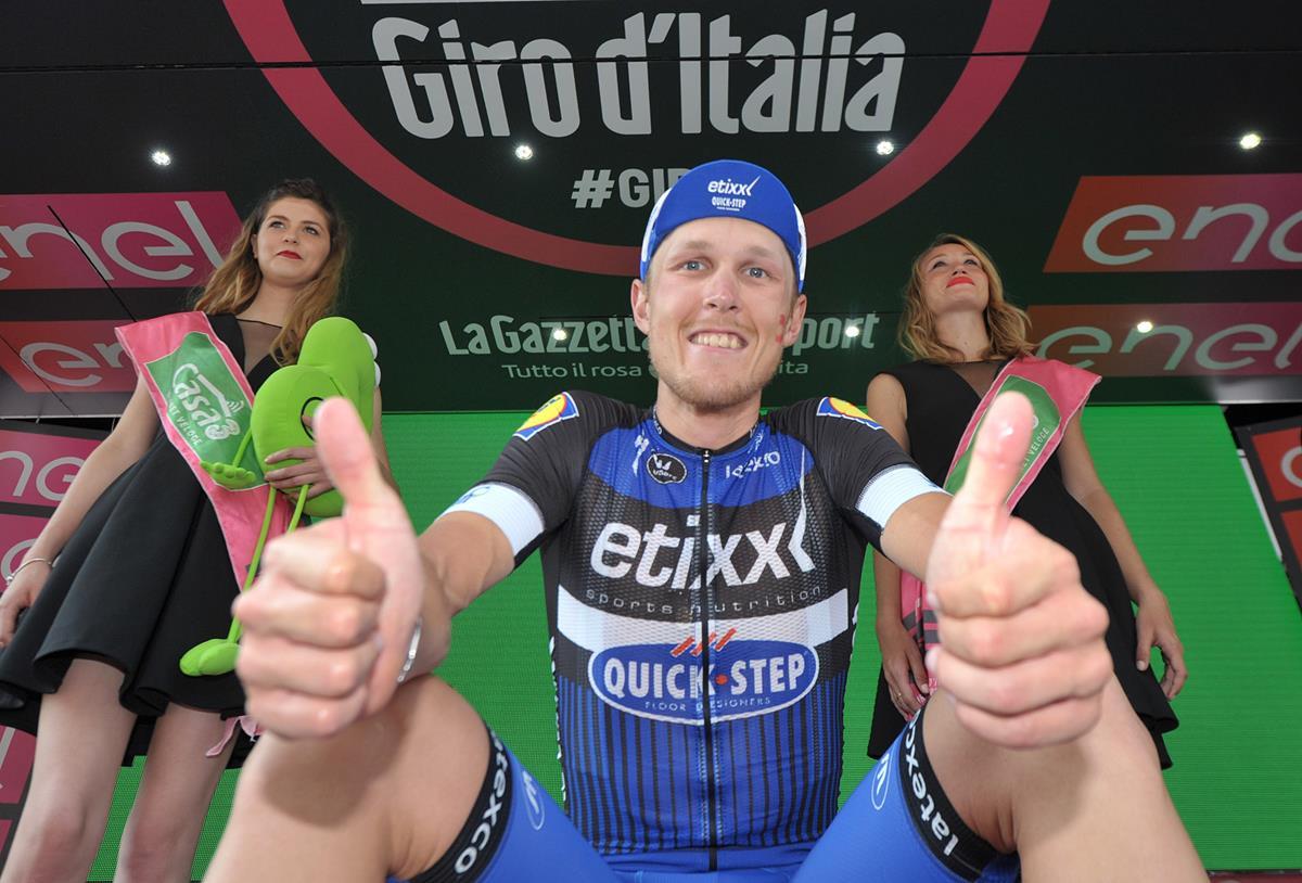 Matteo Trentin entusiasta per la sua prima vittoria al Giro