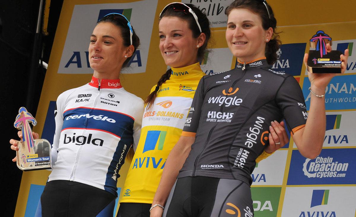 Il podio finale dell'Aviva Women's Tour
