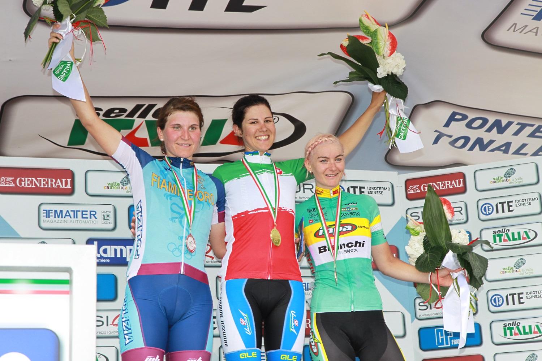 Cecchini, Longo Borghini e Stricker sul podio del campionato italiano di Darfo Boario (Foto Ghilardi)