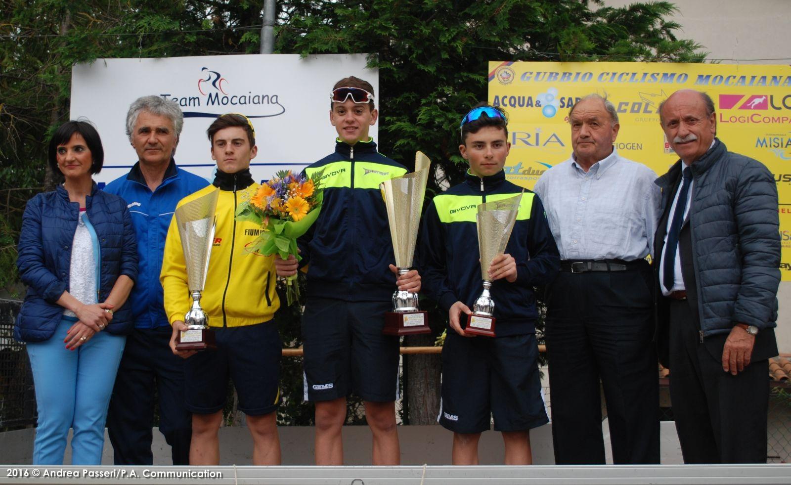 Il podio della gara Allievi di Mocaiana di Gubbio