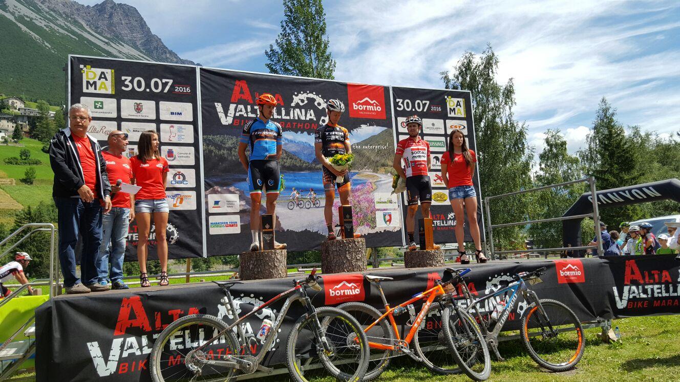 Il podio dell'Alta Valtellina Bike Marathon 2016