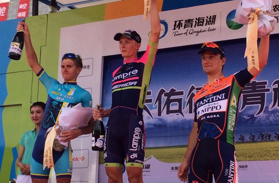 Il podio della decima tappa vinta ancora da Marko Kump