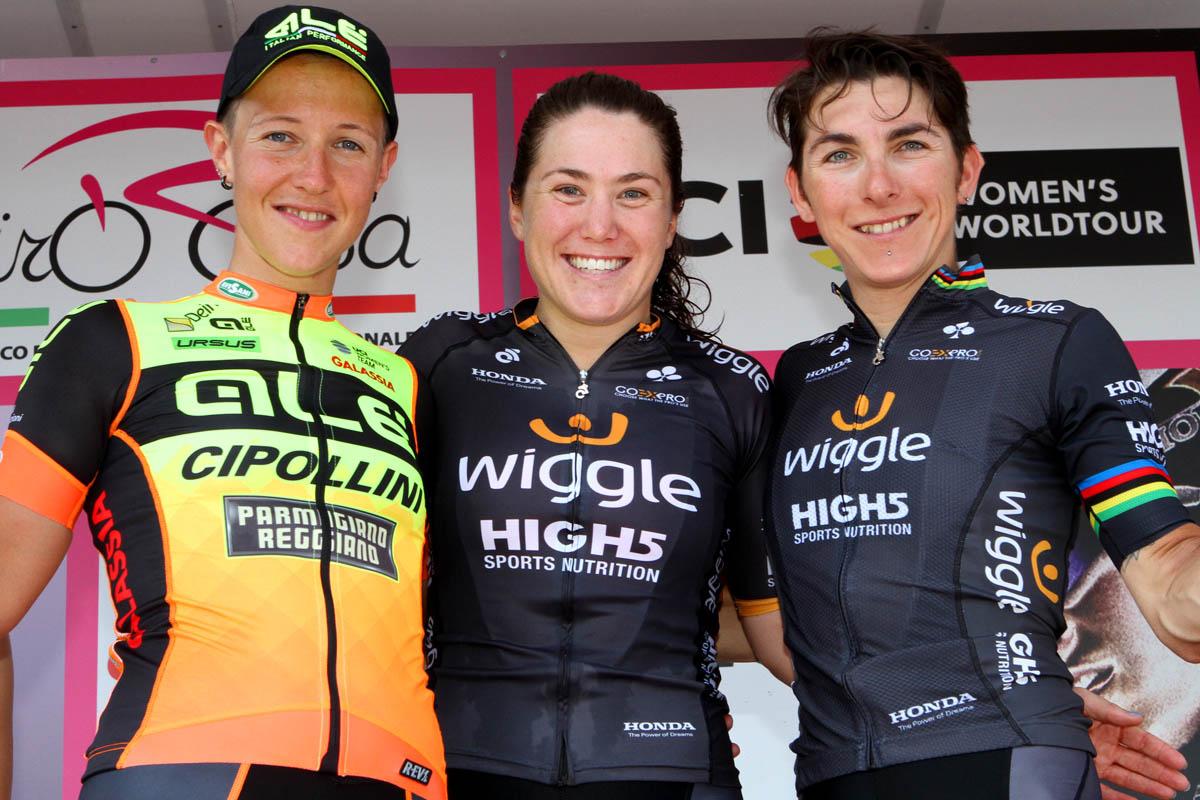 Il podio della terza tappa del Giro Rosa