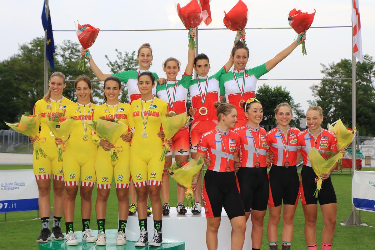 Il podio dell'Inseguimento a squadre Donne Allieve