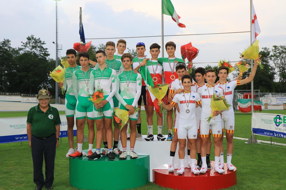Il podio dell'Inseguimento a squadre Allievi