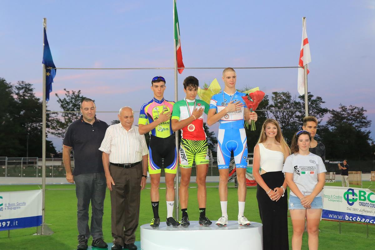 Il podio del Campionato Italiano Corsa a punti Allievi (foto Fabiano Ghilardi)