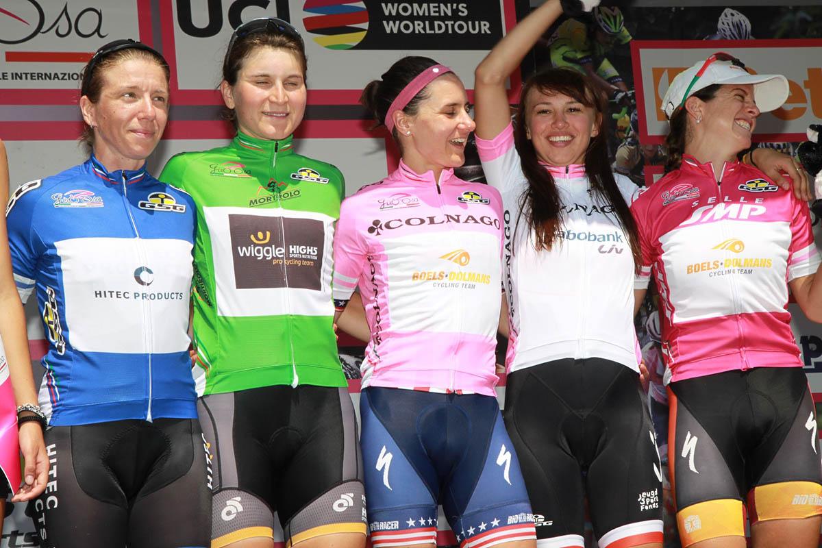 Le maglie del Giro Rosa dopo l'ottava tappa