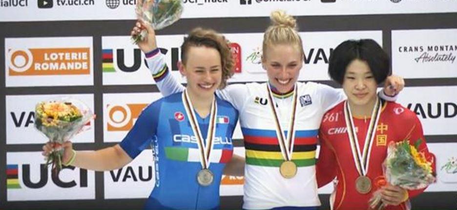 Il podio del Keirin femminile con Gloria Manzoni medaglia d'argento