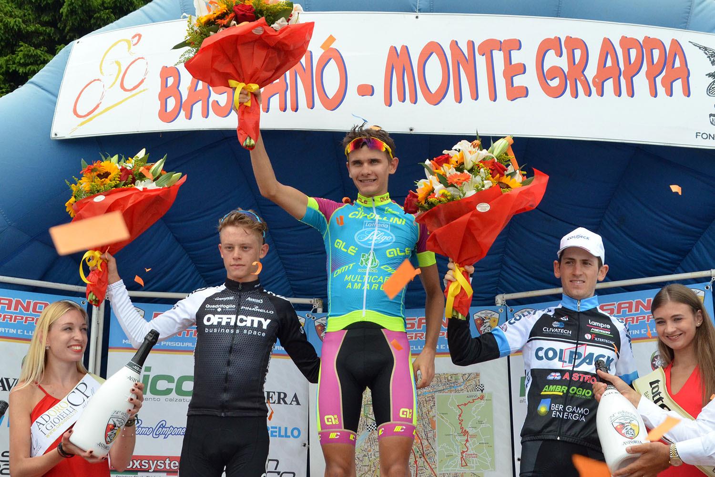 Il podio della Bassano - Monte Grappa 2016