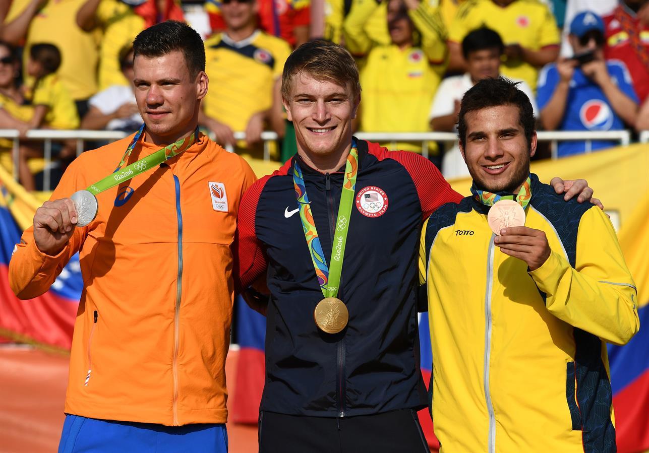 Il podio olimpico maschile del BMX di Rio2016