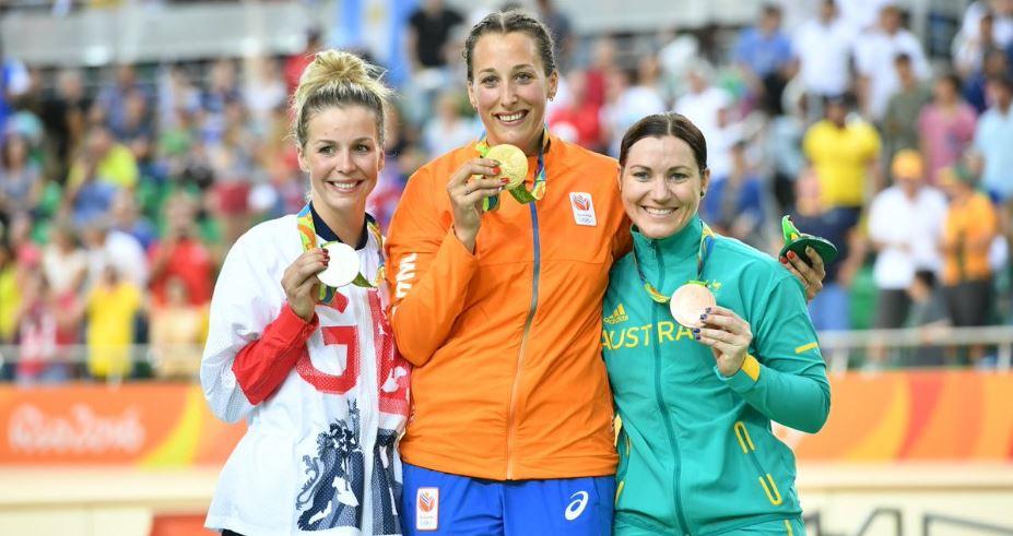 Il podio olimpico del Keirin femminile
