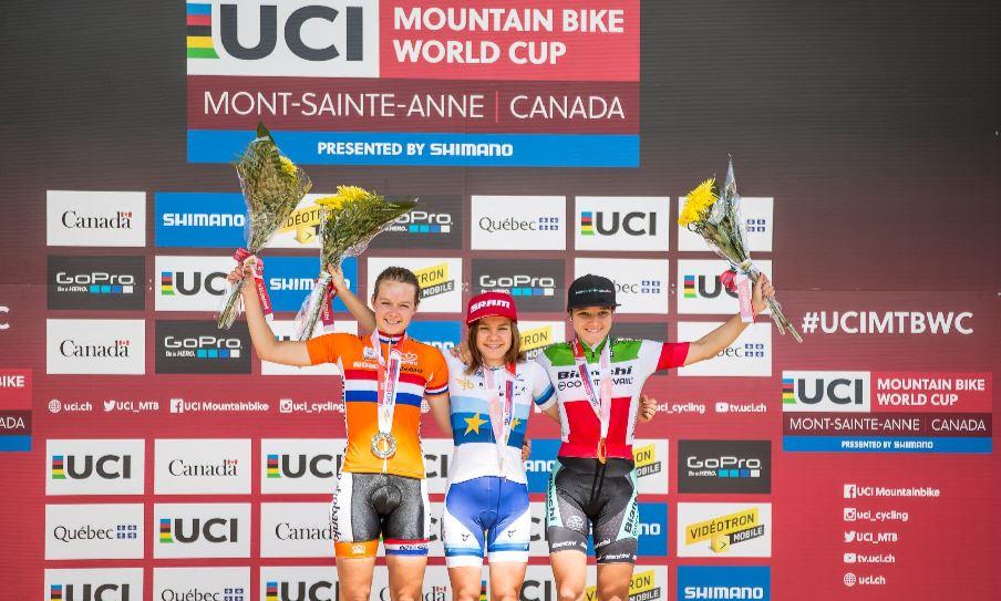Il podio Donne U23 con Chiara Teocchi terza