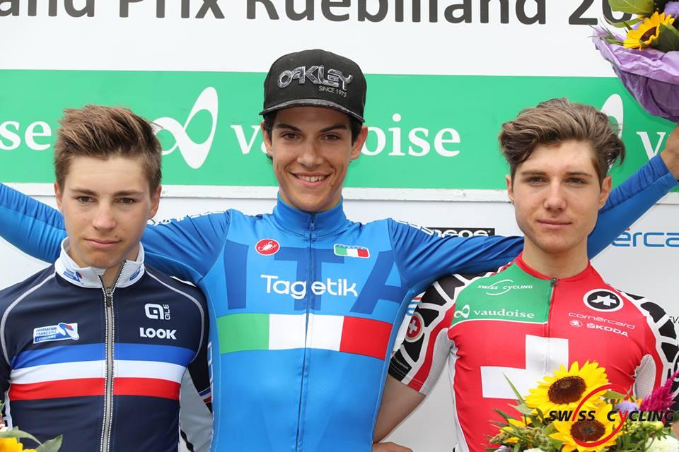 Il podio dell'ultima tappa del Gp Ruebliland vinta da Stefano Oldani