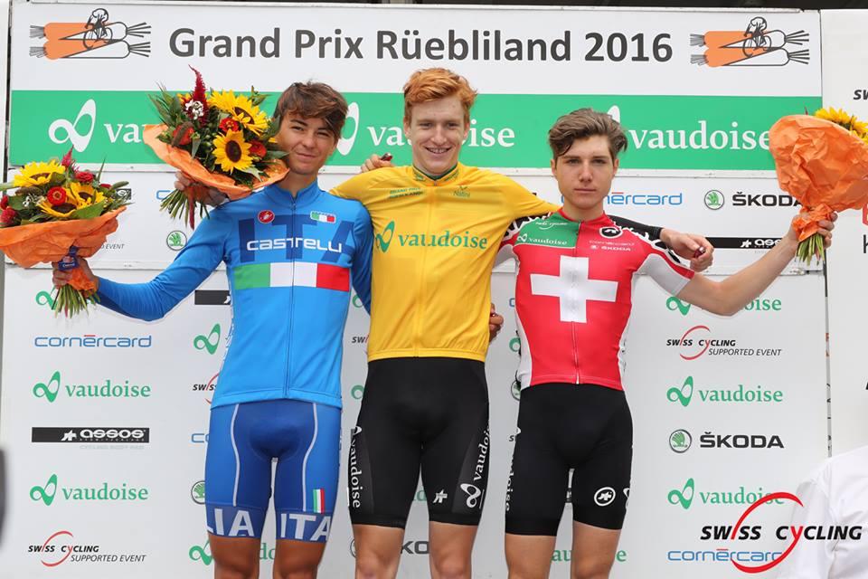 Il podio finale del Gp Ruebliland 2016: 1° Muller, 2° Covi e 3° Hirschi