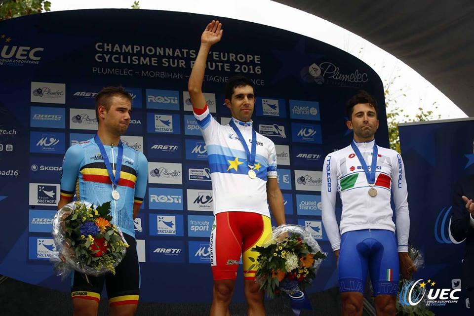Il podio del Campionato Europeo a cronometro professionisti