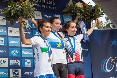Il podio del Campionato Europeo Strada Donne Junior