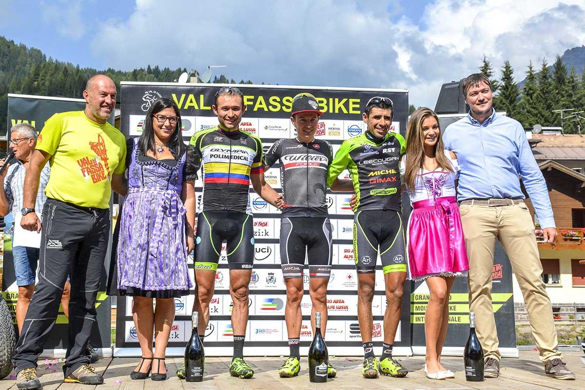 Il podio maschile della Val di Fassa Bike