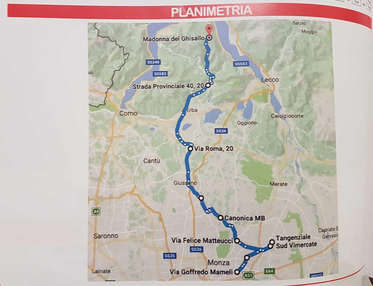 Planimatria della gara Donne Junior Monza-Ghisallo