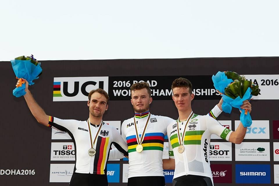 Il podio del Mondiale a cronometro Under 23 2016