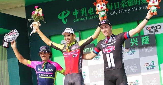 Il podio della prima tappa del Tour of Hainan 2016 in Cina