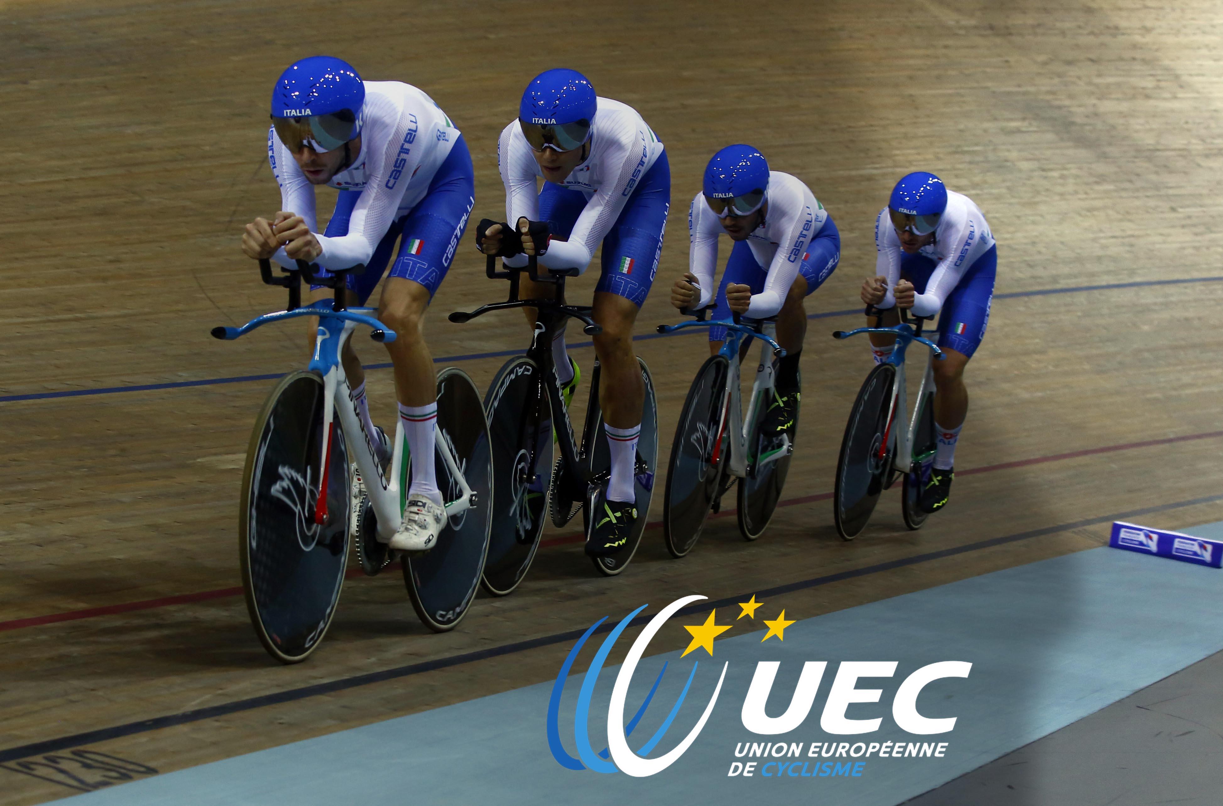 Il quartetto azzurro dell'Inseguimento a squadre maschile
