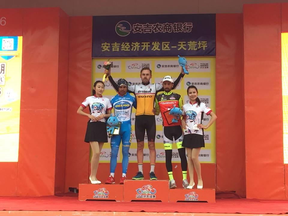 Il podio della terza tappa del Tour of Taihu Lake