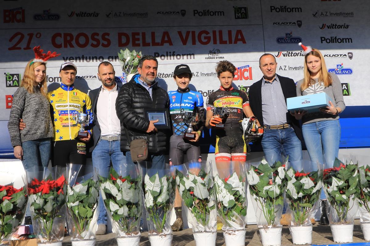 Il podio Juniores del Cross della Vigilia di Lurago d'Erba