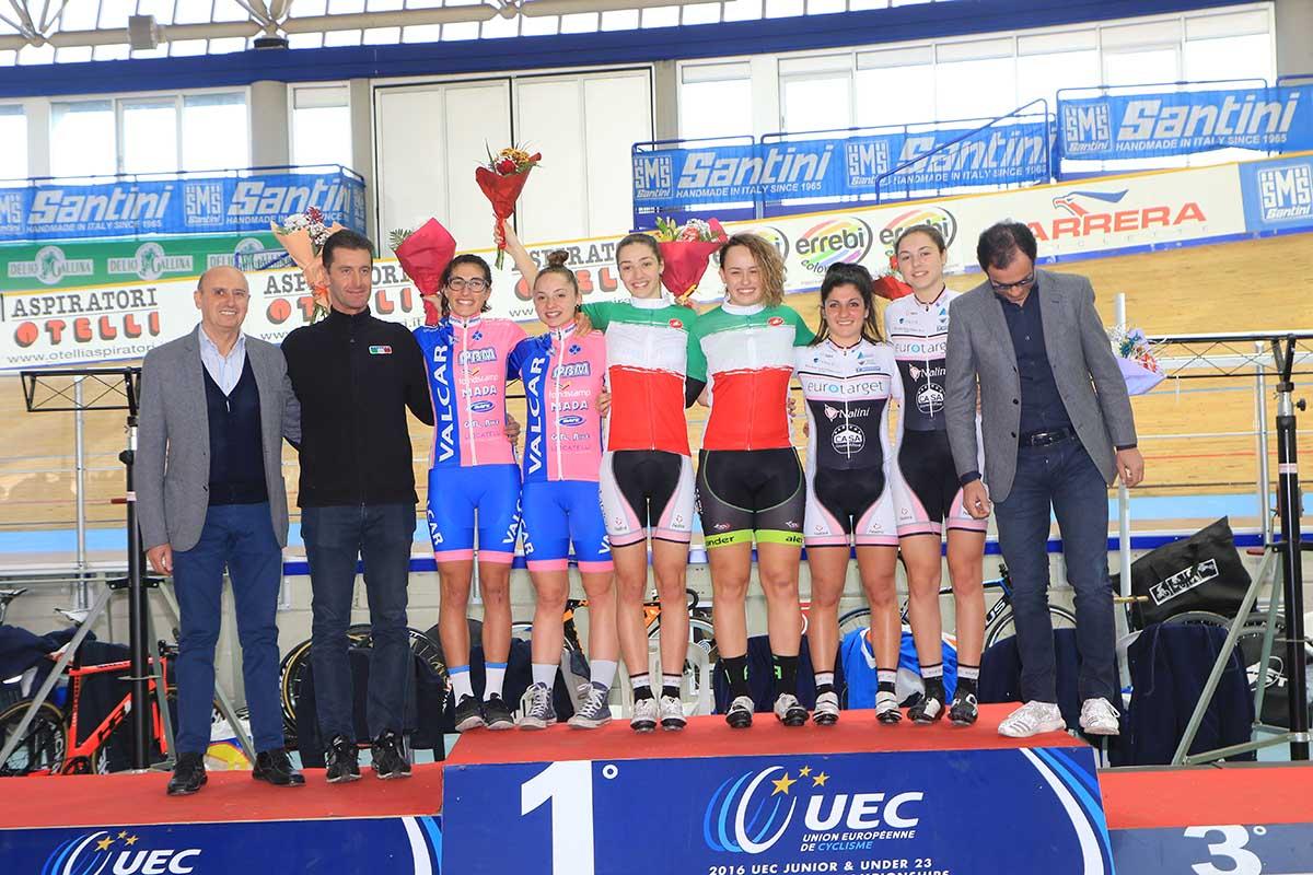 Il podio del Campionato Italiano Velocità a squadre Donne Junior 2016