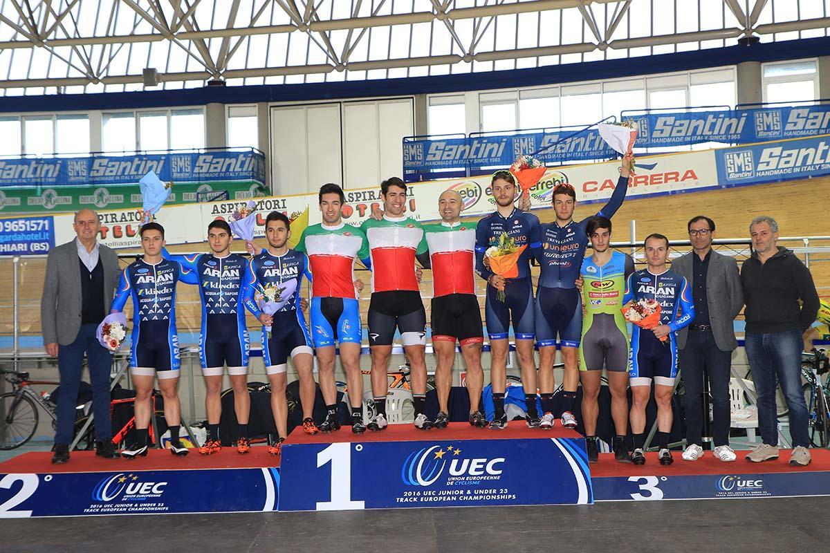 Il podio del Campionato Italiano Velocità a squadre Elite 2016