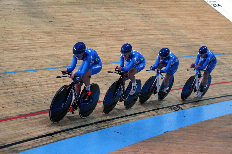 Il quartetto delle Fiamme Azzurre campione d'Italia dell'Inseguimento a squadre Donne Elite