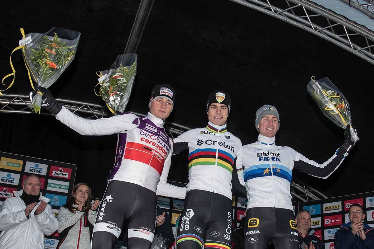 Il podio della gara Elite di Superprestige a Spa-Francorchamps