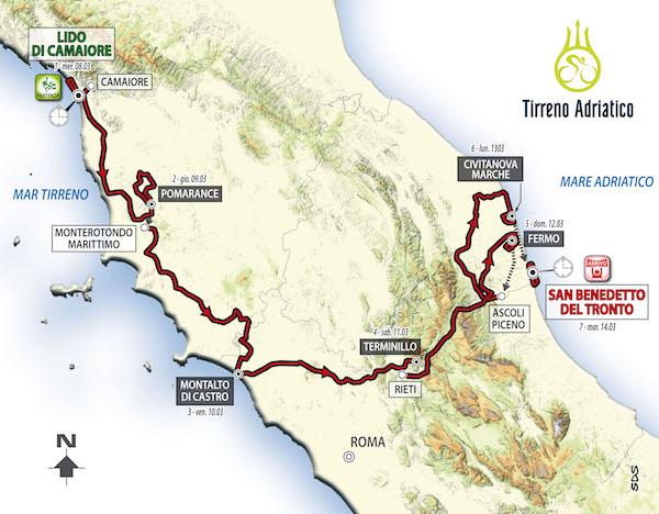 Il percorso della Tirreno-Adriatico 2017