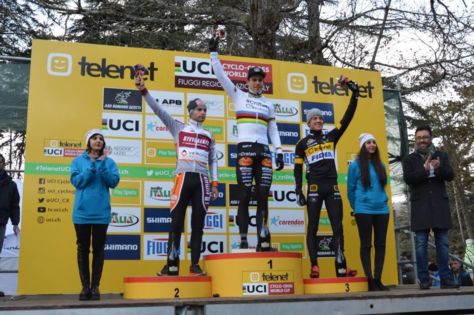 Il podio della prova Elite della Coppa del Mondo Ciclocross di Fiuggi