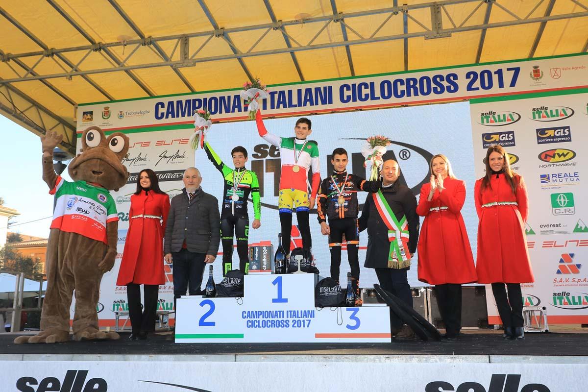 Il podio del Campionato Italiano Ciclocross 2017 Esordienti 1° anno