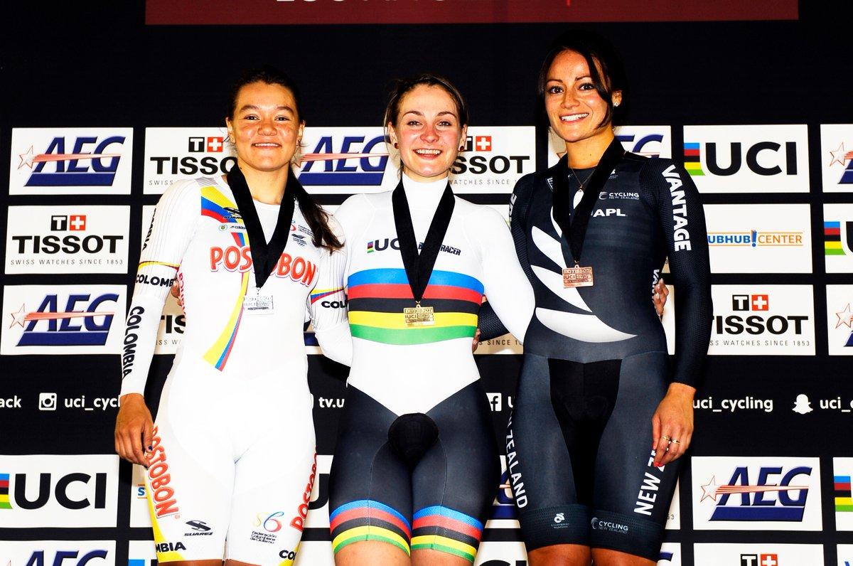 Il podio del Keirin Donne vinto da Kristina Vogel