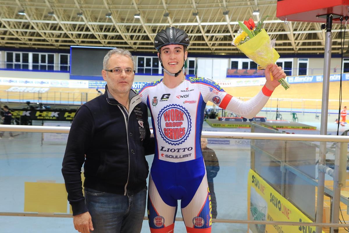 Diego Cisamolo vincitore della Corsa a punti Juniores