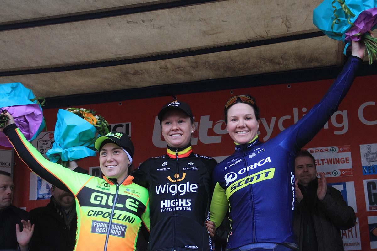 Il podio della Spar - Omloop van het Hageland 2017 vinta da Jolien D'Hoore