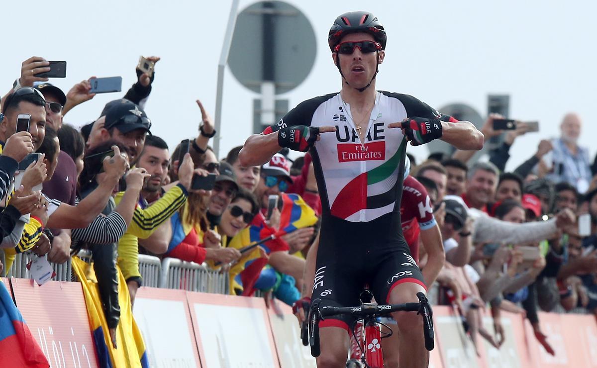 Rui Costa vince il tappone dell'Abu Dhabi Tour 2017 (foto ANSA)