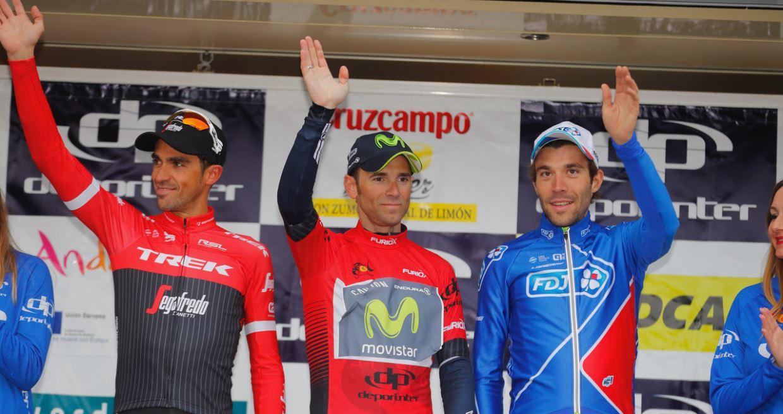 Il podio finale della Vuelta a Andalucia 2017 con Valverde, Contador e Pinot