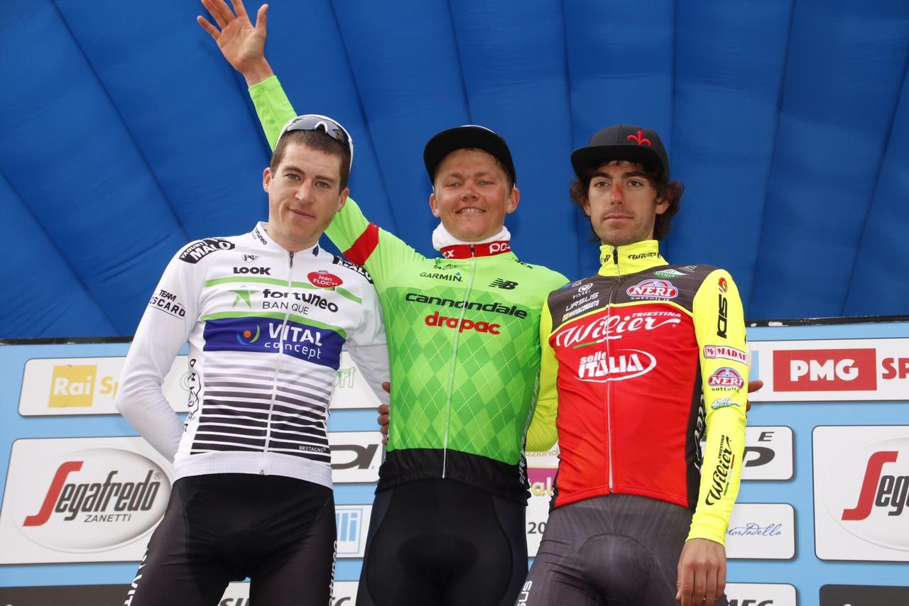 Il podio della seconda tappa della Settimana Coppi e Bartali 2017